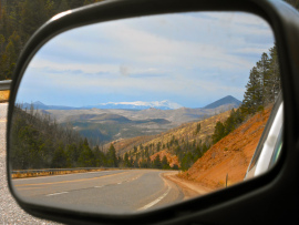 Pike's Peak in Side Mirror