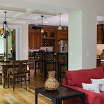 Open kitchen and dining room of Plan #1191-The Genova