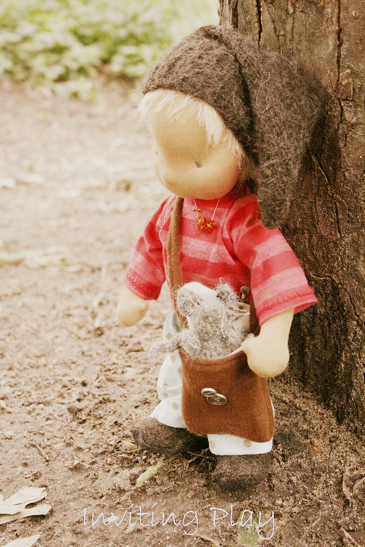 Robin and his mouse, a 13 inch Inviting Play unique  handmade cloth doll set