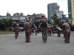 Morton Park laughing statues