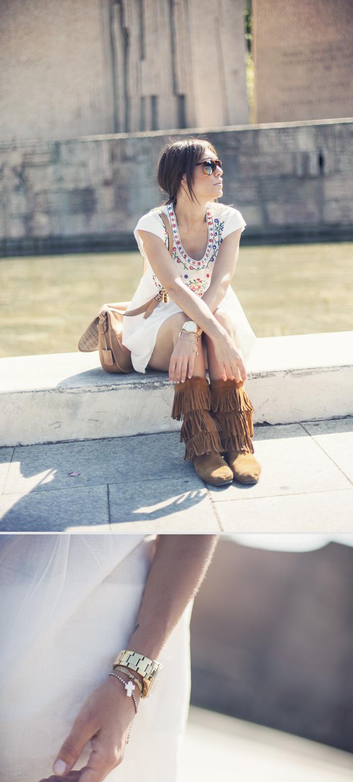 street style barbara crespo sun flare sheinside dress minnetonka boots outfit
