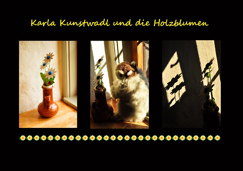 Murmeltier Karla Kunstwadl Holzblume Holzblumen Licht und Schatten