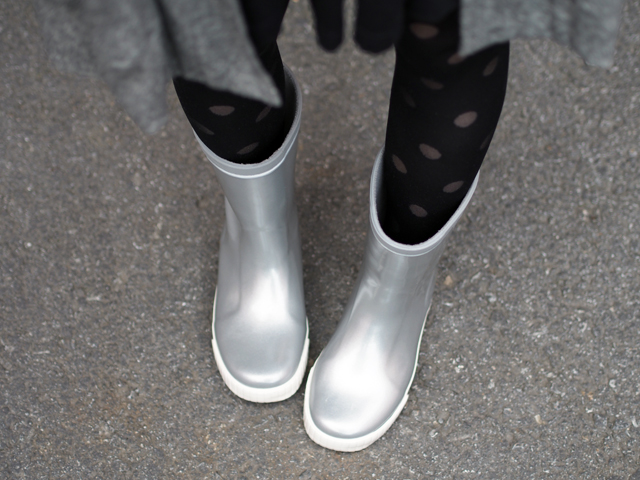 silver wellie boots