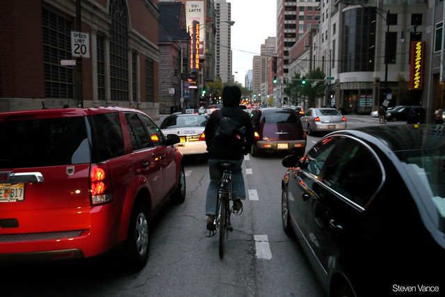 Bicycling on the Dearborn Street bike lane