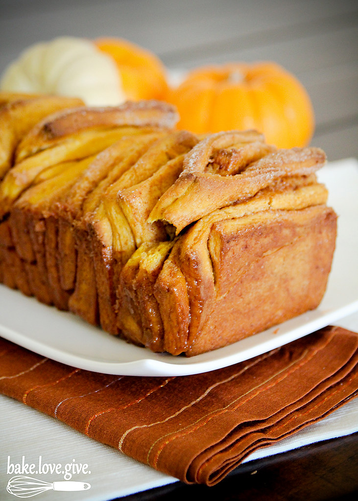 Pumpkin Spice Pull Apart Bread baked from scratch