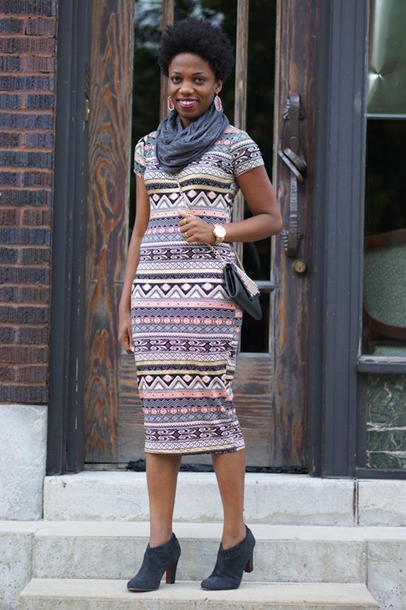 Ribbon Aztec Foil Midi Dress, Bank Fashion 4c3