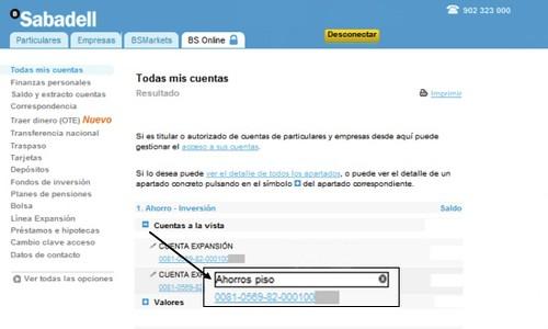 BS Online: alias en cuentas