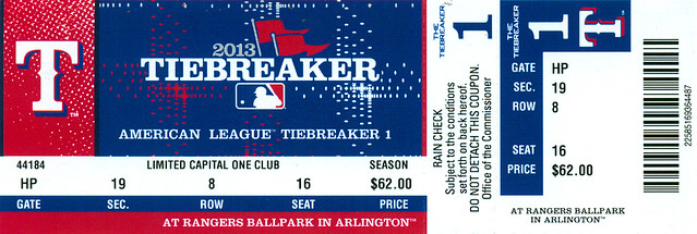 September 30, 2013, AL Tiebreaker Playoff Game, Texas Rangers vs Tampa Bay Rays, Ballpark in Arlington - Ticket Stub