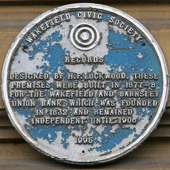 Photo of Wakefield and Barnsley Union Bank and H. F. Lockwood blue plaque