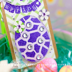Happy Spring tag - purple/green egg close up
