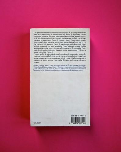 Soglie, di Gérard Genette. Einaudi 1989. Responsabilità grafica non indicata [Munari]. Quarta di copertina (part.), 3