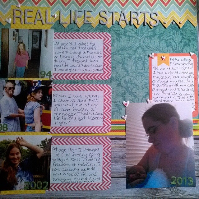 Scrapbooking layout looking at what it really means to Grow Up