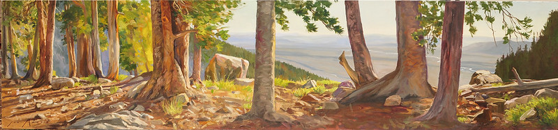 Oil on linen | 24 x 108 inches Coll: Coe Library This view is from a campsite near Surprise Lake. Here are some of the last trees you'll see as you continue higher up the mountain. I love the way they break up the space in the early morning light.