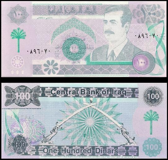 100 Dinárov Irak 1991, Saddam Husajn