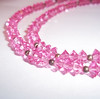 Vintage Lisner Pink Austrian Crystal Bicone Bead Necklace
