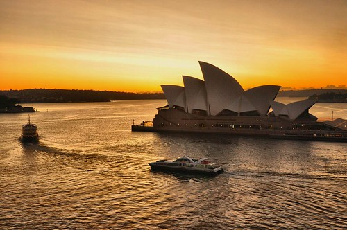 lighting morning travel autumn sky sunlight beautiful weather sunrise landscape golden warm day colours view angle harbour perspective sydney australia circularquay operahouse tones magnificent