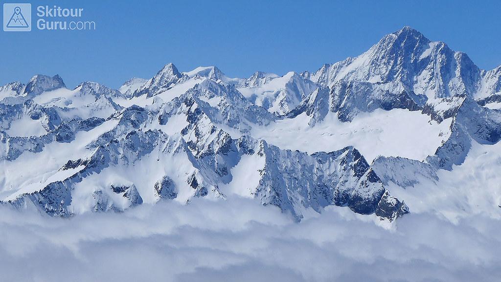 Haute Route Swiss Glacier, Bernské Alpy z Diechterhornu, Urner Alpen:http://skitourguru.com/oblast/23-urner-alpen, Switzerland.