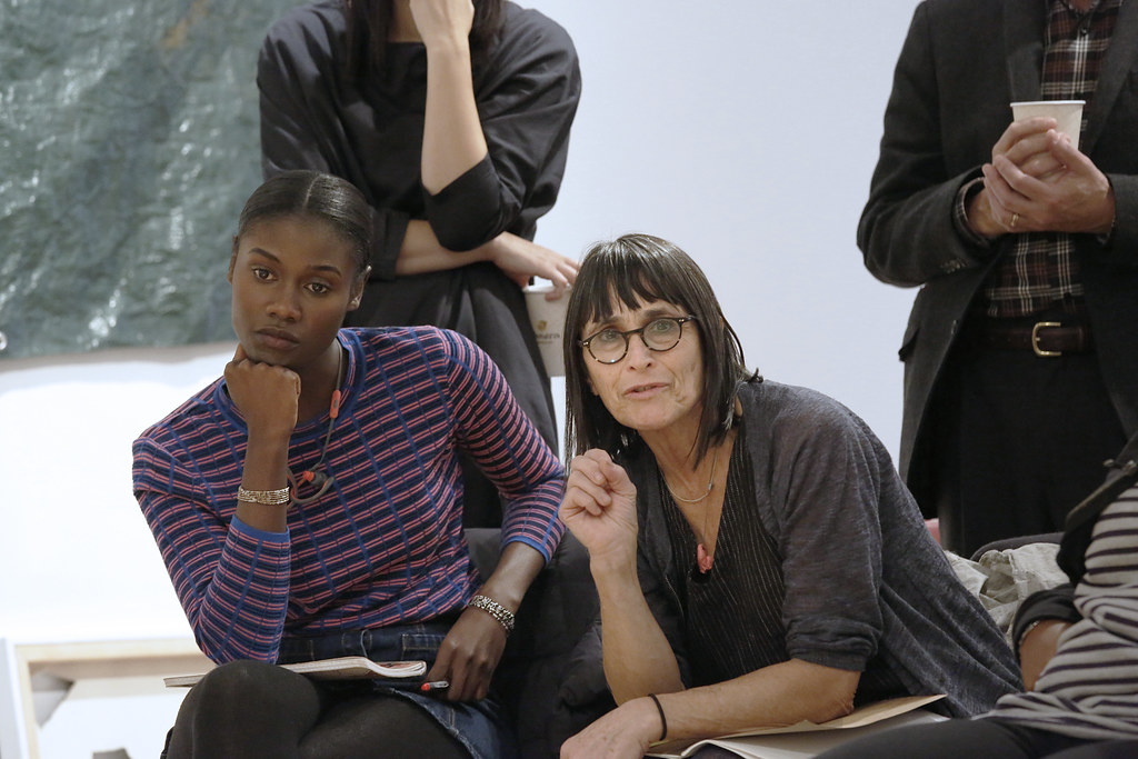 Department of Art Visiting Lecturer Linda Norden, at right, during M.F.A. presentations in Tjaden Gallery.
