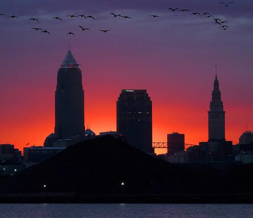 Cleveland skyline above the coal slag