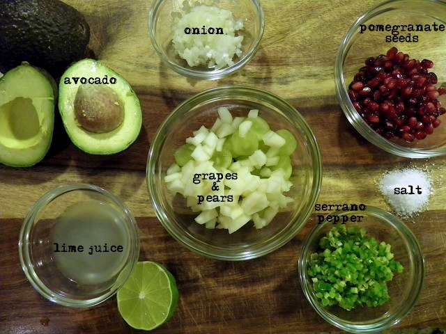 Guacamole with Pomegranate and Pear