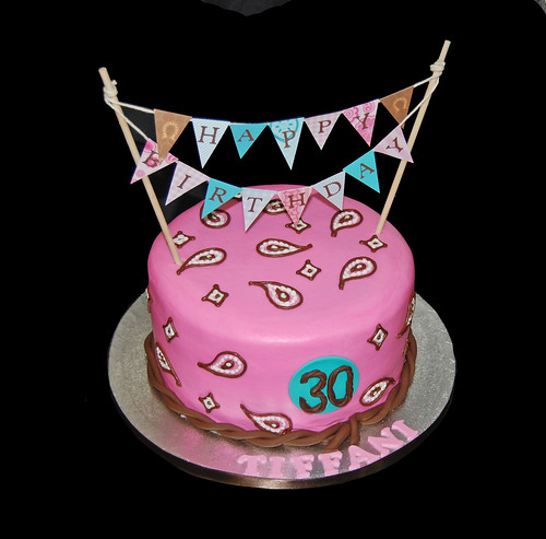 pink, brown and aqua blue 30th birthday western cake with bunting