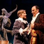 """Don Adriano de Armado (Will Lebow, r.) and his young page Moth (Jeremy Beck) concoct one of the schemes Armado hopes will win him the hand of Jaquenetta in the Huntington Theatre Company's production of Shakespeare's comedy, """"Love's Labour's Lost,"""" directed by Nicholas Martin. Part of the 2005-2006 season. Photo: © T. Charles Erickson."""