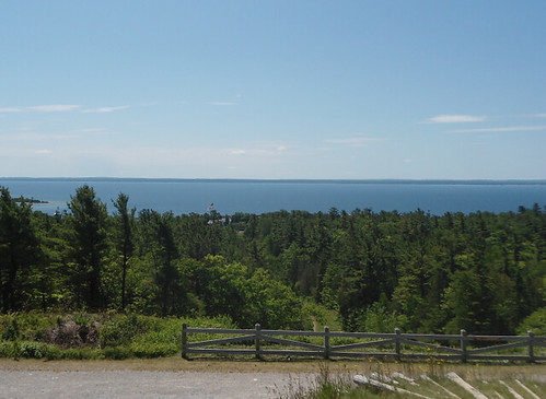 view from top of Fort Holmes on Mackinac Island; Fort Mackinac flag visible above trees