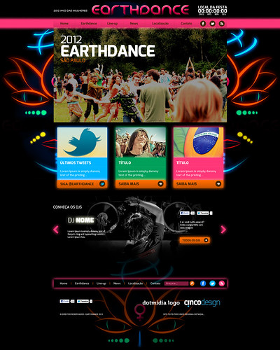 Layout site - Earthdance by chambe.com.br