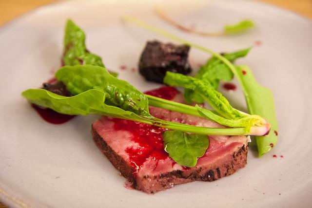 Pork neck, blood cream, beet, and spinach, Aska