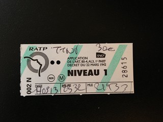 Receipt for fine on Paris Metro.