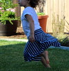 striped flutter skirt