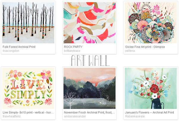 Etsy favourite lists : 'art wall' curated by Emma Lamb