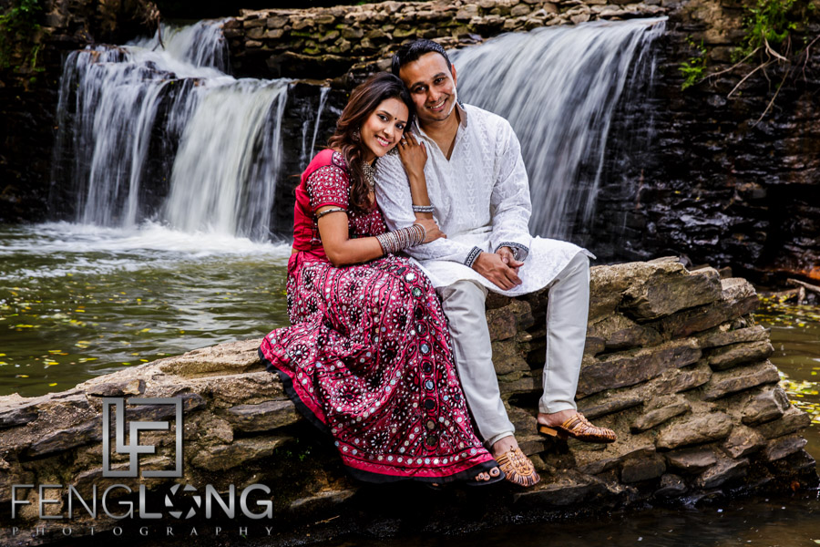 Indian Bride And Groom In Front Of A Waterfall Atlanta Pre Wedding Photography