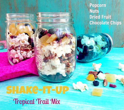Trail Mix with popcorn, dried fruit, pecans, chocolate chips