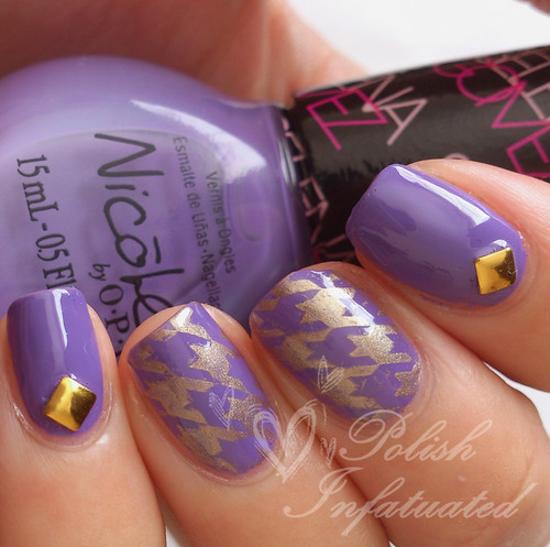 purple studded houndstooth