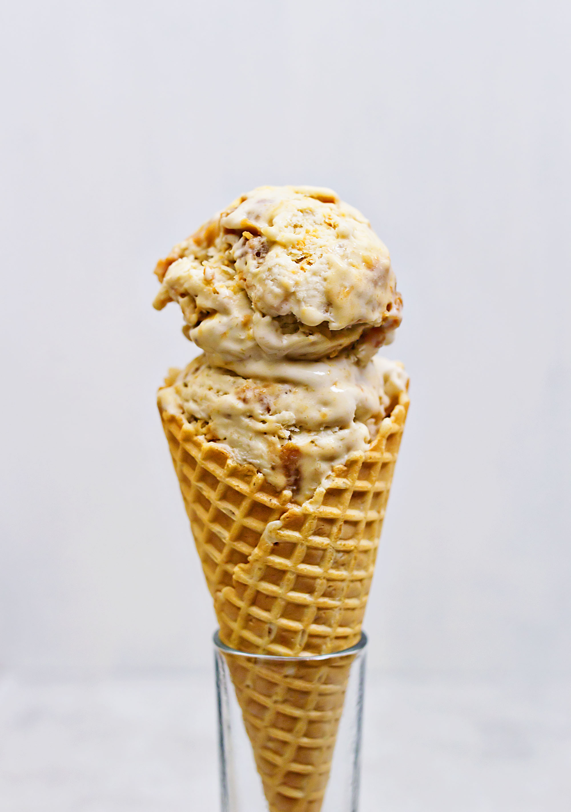 No churn banana ice cream with salted caramel swirl