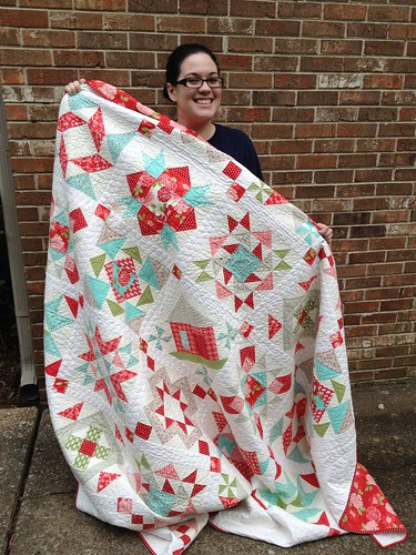 Christa with her quilt