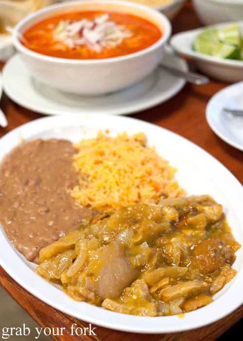 chicharron in salsa verde at tamales lilianas restaurante mexican in east los angeles