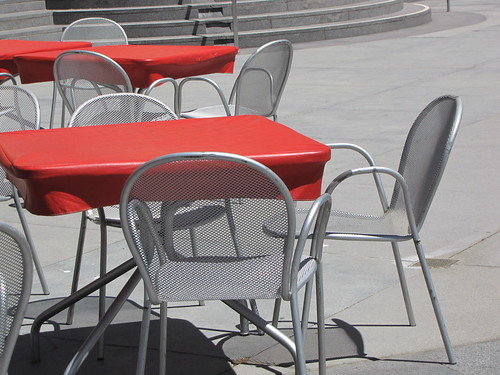 Metal Chairs and Red Tables