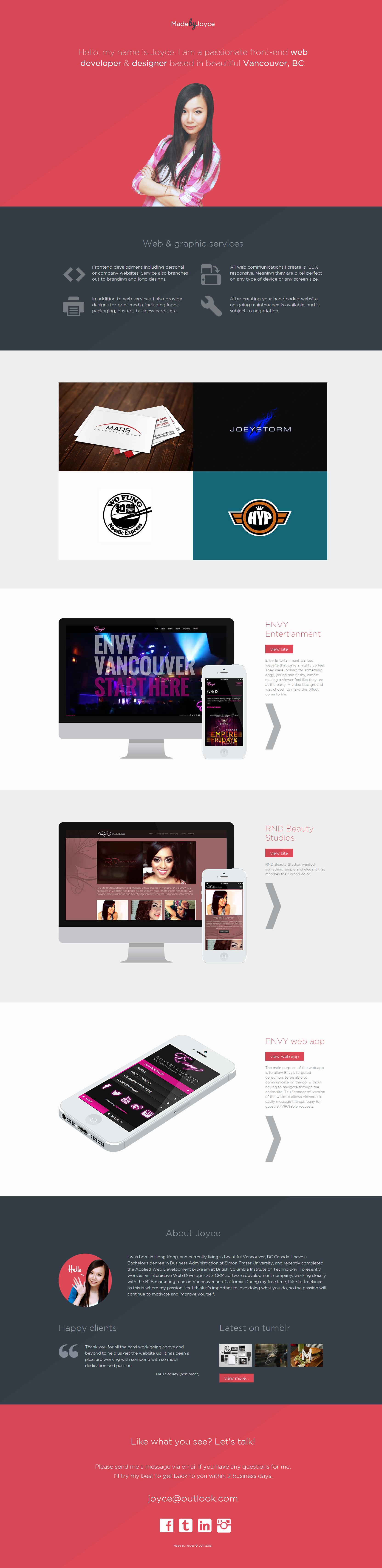 Made by Joyce One Page Responsive Website