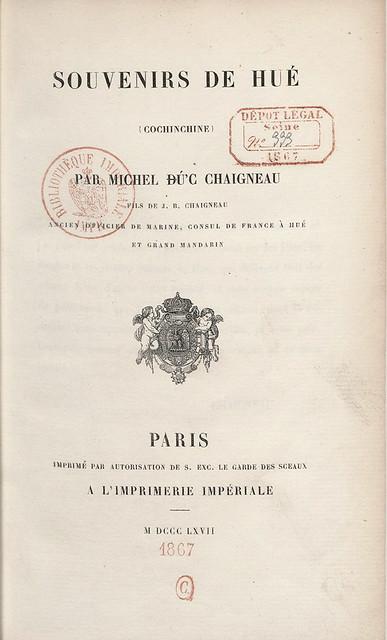 1867 Souvenirs de Hué (Cochinchine) par Michel Ðú'c Chaigneau 1867