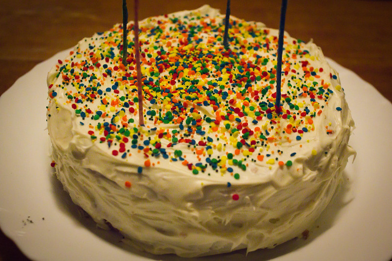Saturday, October 5: Happy Birthday to me! Kinda. My birthday is October 9 but I had some friends over for a potluck to celebrate early. Jason made funfetti cake!