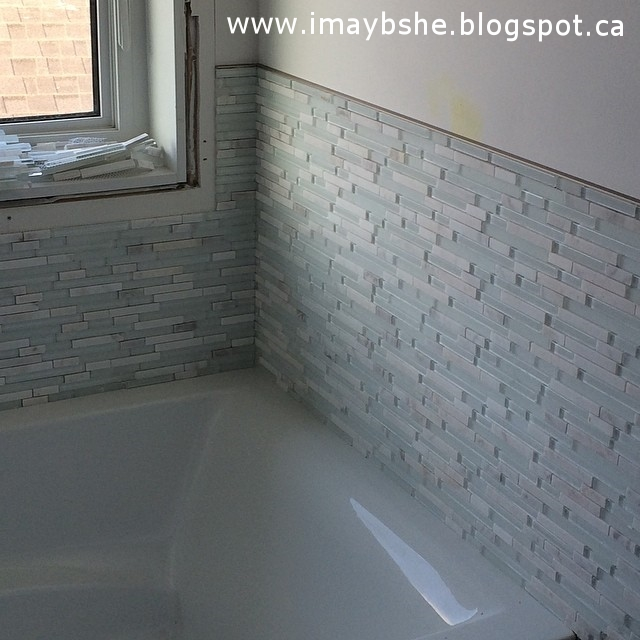 The bathroom tiles are in. I'm in love. #100happydays