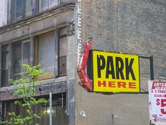 Parking sign, downtown Detroit