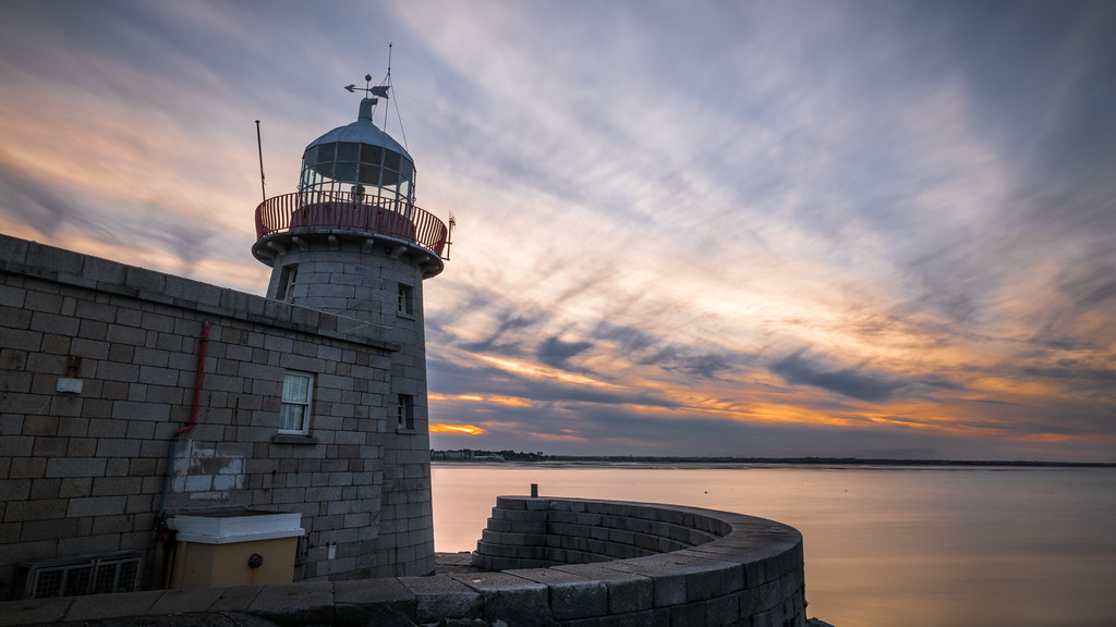 Howth lighthouse at sunset, Dublin, Ireland picture