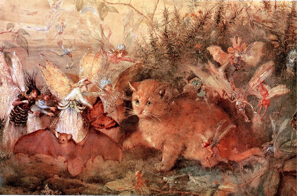 Cat among the Fairies by John Anster Christian Fitzgerald (1819 - 1906)