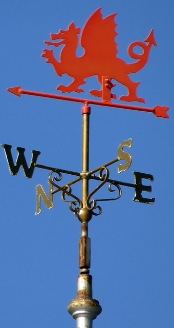 The Welsh Dragon tops a weathervane on Llandudno Pier in northern Wales