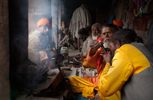 Sadhus waiking up... by Harry Fisch