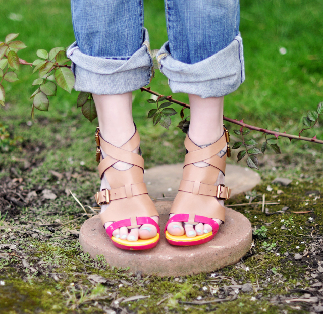neon painted shoes diy