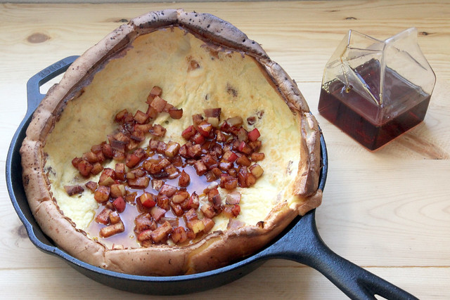 Dutch Baby with Bacon and Roasted Apples and Maple Syrup
